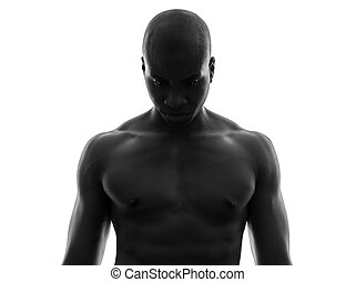 african black man topless looking down sad silhouette - one...