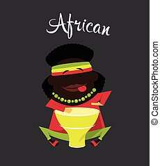 African black or Negro man, character, Africa inhabitant