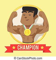 African body builder on emblem banner champion