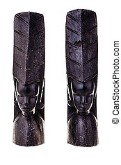 an ancient african black wood carved artifact isolated over a white background