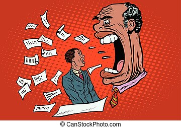 African boss yells at a subordinate. work and business. Pop...