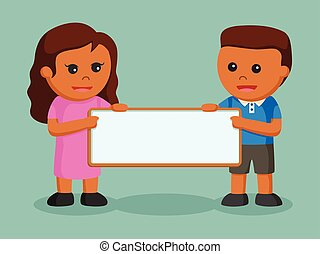 African boy and african girl with blank board