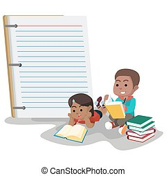 African boy and girl with giant notebook