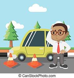 African Boy car break down
