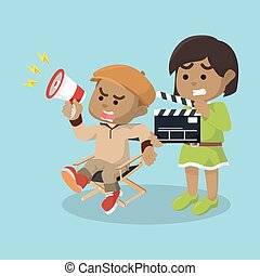 African boy director and girl movie assistant