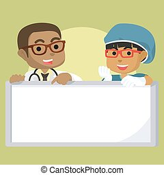 African boy doctor and african girl surgeon hold sign