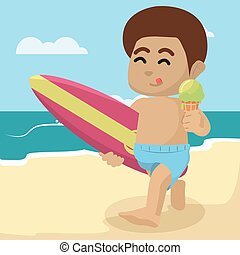 african Boy eating ice cream on beach