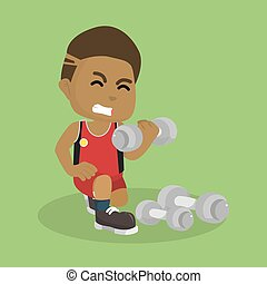 african Boy exercising with dumbell