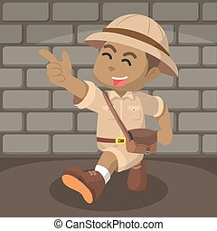 African boy explorer illustration