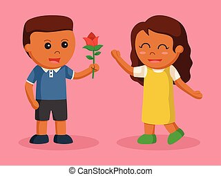 African boy giving flower to african girl