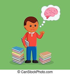 African Boy holding book and thinking with brain