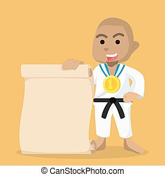 african Boy karate champ holding paper