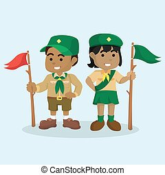 African boy scout and african girl scout