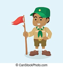 African boy scout with flag