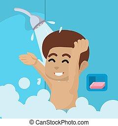 African Boy take a bath with shower