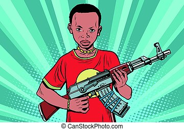 African boy with AKM automatic weapons. Comic cartoon style...