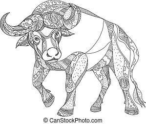 African Buffalo Charging Doodle - Doodle art illustration of...