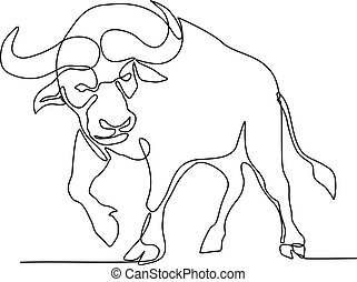 African Buffalo Continuous Line