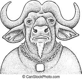 African Buffalo Engraving Illustration