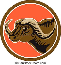 African Buffalo Head Side Circle Retro