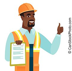 African builder with clipboard giving thumb up.