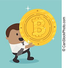 African business achieves a bitcoin, He holds a bitcoin medal.