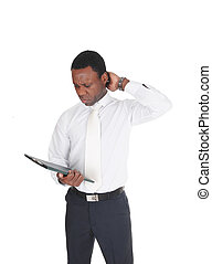 African business man paper, scratching his head