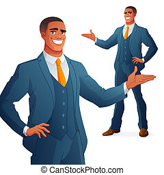 African business man presenting. Isolated vector illustration.