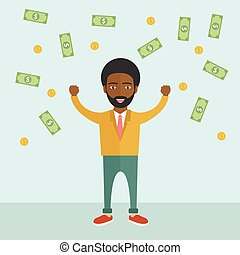 African Business man under a money rain. Happy man with flying money.