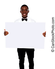 African business representative holding blank billboard over...