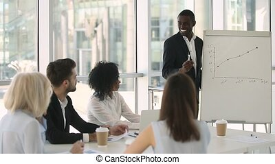 African business trainer asks questions checks knowledge of...