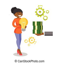 African business woman exchanging idea for money