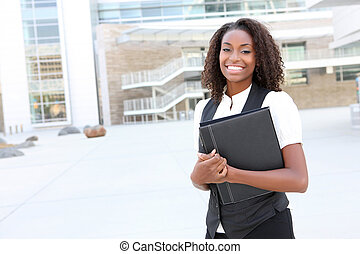 African Business Woman with Binder