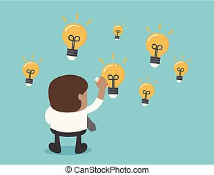 African businesses draw a lot of light bulbs, indicating he has a lot of ideas.