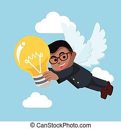African businessman angel bring bulb