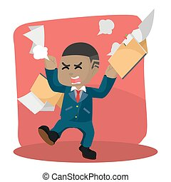 African businessman angry with flying folder