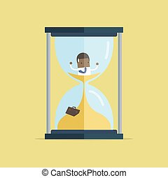 African businessman be trapped in hourglass and sinking in sand. Expired deadline, business time management, time is running out themes design.