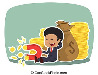 African businessman beside money sack holding coin magnet