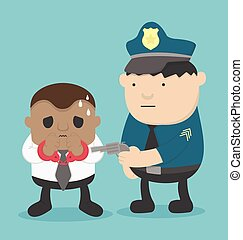 African businessman Business offenders arrested by the police illustration for business design and infographic