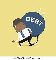 African businessman carry debt. Financial concept.