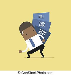 African businessman carry pile of debt, tax and bill.