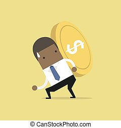 African businessman carrying big and heavy gold coin on his back.