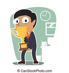 African businessman carrying giant trophy illustration...