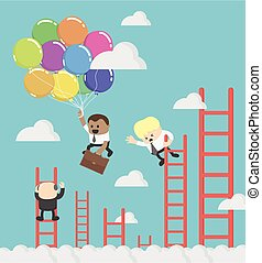 African Businessman compete by climbing higher up the ladder. A leader is flying faster on balloon