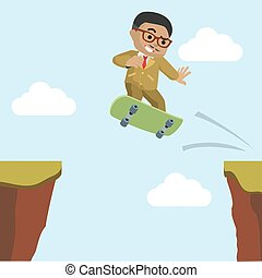 African businessman crossing the cliff with skateboard