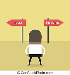 African businessman decision about past and future way.