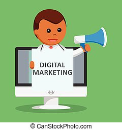 African businessman digital marketing promotion