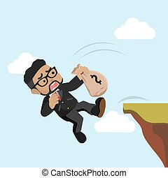 African businessman falling from cliff