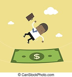 African businessman falling into a money. Business concept.