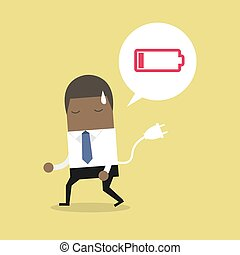 African businessman feeling tired and low power battery.